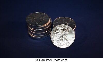 Silver Eagle, Bullion Coins Stack - Stacks of one-ounce...