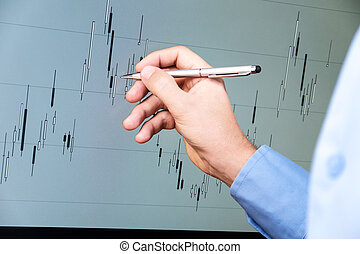 chart analysis on candlestick chart with hand and pen