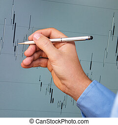 candlestick chart analysis with hand and a pen