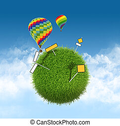 ball of grass with road signs and balloons on the sky background.