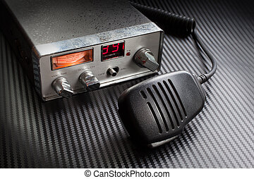 CB radio - Two way radio with microphone on a gray...