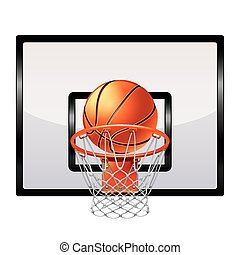 Basketball ring isolated on white vector - Basketball ring...