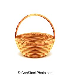Wicker basket isolated on white vector - Wicker basket...