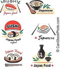 Japanese seafood set with sushi, rolls, sake, nigiri, fish,...