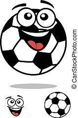 Soccer ball smiling cartoon character - Laughing cheerful...