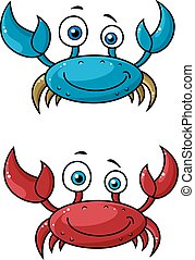 Crab funny cartoon characters - Red and blue funny smiling...