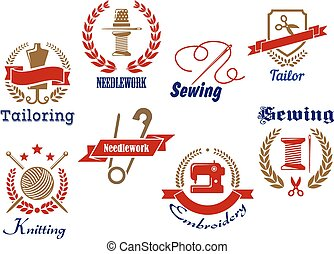 Needlework, knitting and tailoring emblems and icons