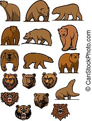 Grizzly and brown bear characters - Cartoon brown bears and...