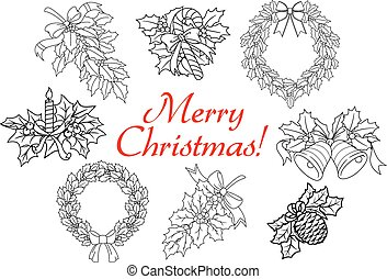 Christmas and New Year holiday decorations set - Christmas...