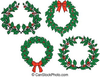 Christmas holly wreaths set