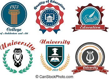 University and college emblems or badges set in retro style...