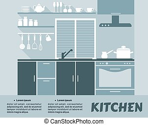 Modern blue kitchen interior in flat design