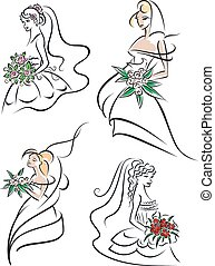 Graceful young brides with flowers - Beautiful outline...