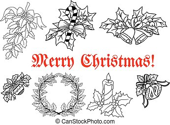 Christmas and New Year decorations set - Christmas and New...