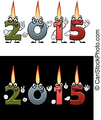 Lighted cartoon candle numbers 2015 - New Year or Christmas...