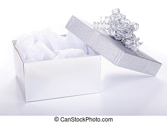 Opened Gift Box - Opened silver gift box on a white...