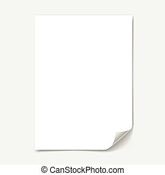 blank paper sheet with page curl