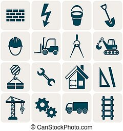 Construction icons - Retro vector abstract construction...