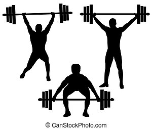 weightlifting - weightlifters in different poses on a white...
