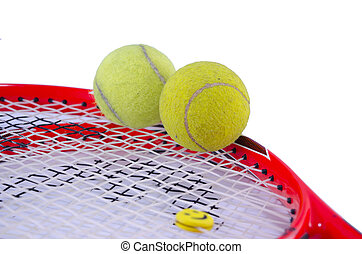 Tennis racket with two tennis balls