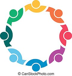 People together in circle logo