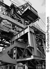 Detail of a gigantic excavator in the disused lignite...