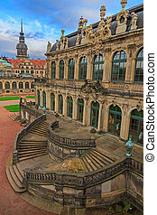 Stairs top view at Zwinger palace and Residenzschloss (city...