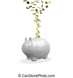Gold Coins Flowing into a Piggy Bank - The 3D illustration...