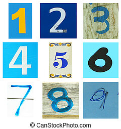 Number one to nine in blue - Collection of number one to...