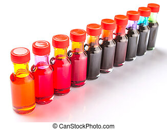 Food Color Additives - Different color variety of liquid...