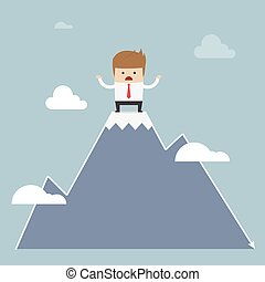 Man stuck on the top of mountain, stock market concept,...