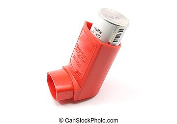 Red Asthma Inhaler - Red asthma inhaler isolated on a white...