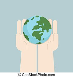 Hand holding the world, VECTOR, EPS10