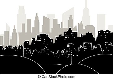 Modern city by night - Black and white illustration of a...