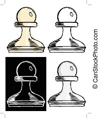 chess pawn - Editable vector illustrations in variations,...