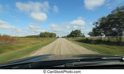 Country road time lapse. SK. - Driving on a country road...