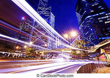 night scene of modern city, China Hong Kong