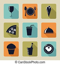Set of icons with food and drinks,