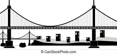 Suspension cable bridge - Ilustration of a suspension cable...