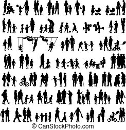 People silhouettes - Large set of people silhouettes...