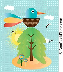 Background with bird, flowers and tree - Picture of bird,...