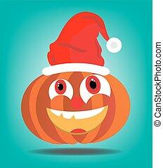 Orange pumkin - Orange halloween pumkin with red cap