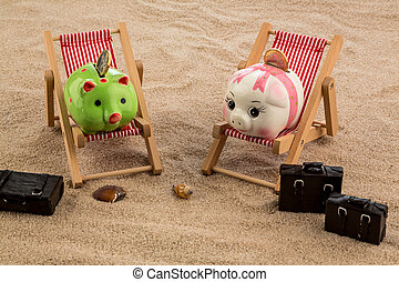 piggy bank in a deck chair - a piggy bank is in a deck chair...