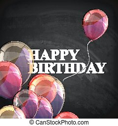 colorful poster with balloons and chalk letters on...
