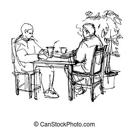 sketch of two friends in a cafe at a table drinking tea...