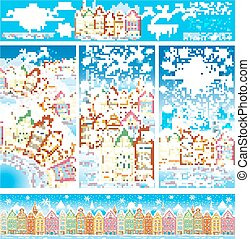 Christmas cards of a snowy old town