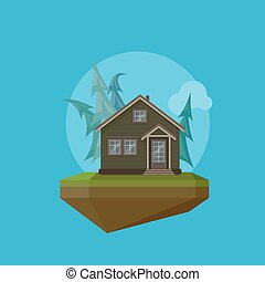 Illustration of a cartoon house in flat polygonal style and flying island
