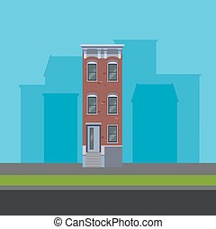 vector illustration of townhouse in flat polygonal style