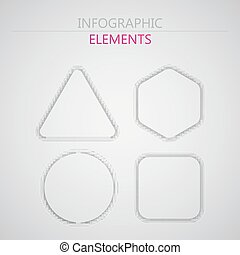 vector set of abstract 3d paper infographic elements for print or web design. abstract shapes