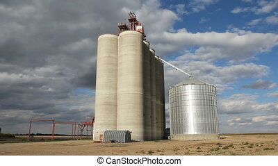 Grain elevator. Saskatchewan. - Grain elevator with dramatic...
